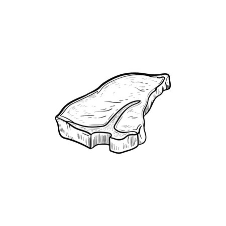 T-bone beef steak hand drawn outline doodle icon. Vector sketch illustration of t-bone beef steak for print, web, mobile and infographics isolated on white background. Illustration