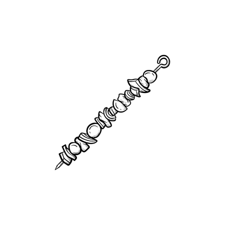 Shish kebab hand drawn outline doodle icon. Skewer with shish kebab vector sketch illustration for print, web, mobile and infographics isolated on white background.