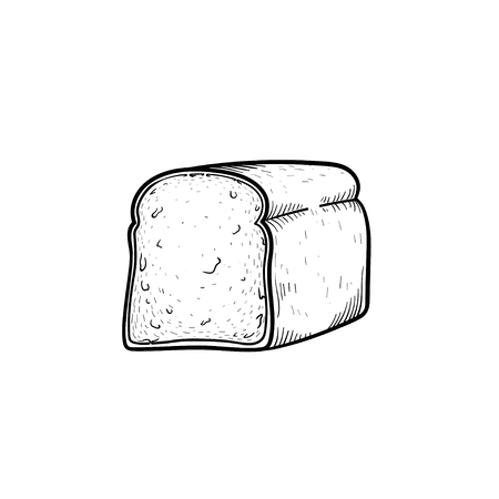 Half of bread hand drawn outline doodle icon. Toast bread for sandwich vector sketch illustration for print, web, mobile and infographics isolated on white background. Иллюстрация