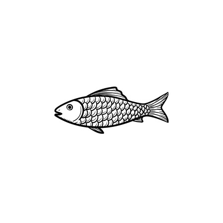Raw fish hand drawn outline doodle icon. Vector sketch illustration of healthy seafood - fish under water for print, web, mobile and infographics isolated on white background. Vettoriali