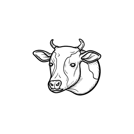 Cow head hand drawn outline doodle icon. Organic veal meat vector sketch illustration for print, web, mobile and infographics isolated on white background.