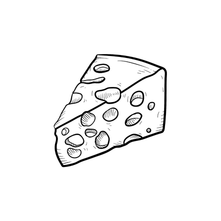 Portion of cheese hand drawn outline doodle icon. Healthy dairy product - cheese vector sketch illustration for print, web, mobile and infographics isolated on white background.