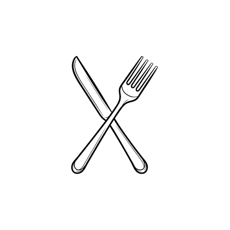 Fork and knife hand drawn outline doodle icon. Cutlery - crossed fork and knife vector sketch illustration for print, web, mobile and infographics isolated on white background. 向量圖像