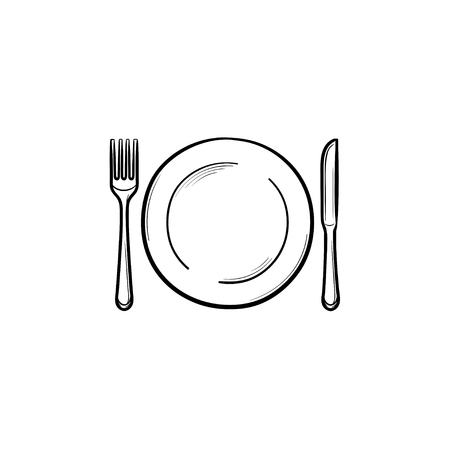 Plate with fork and knife hand drawn outline doodle icon. Dinnerware - plate with fork and knife vector sketch illustration for print Vectores