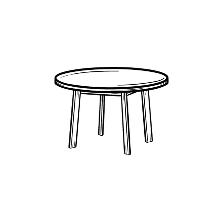 Round table hand drawn outline doodle icon. Coffee table vector sketch illustration for print, web, mobile and infographics isolated on white background.