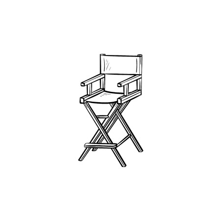 Movie director chair hand drawn outline doodle icon. Chair of Movie director vector sketch illustration for print, web, mobile and infographics isolated on white background. Illustration