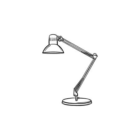Table lamp hand drawn outline doodle icon. Adjustable desk lamp vector sketch illustration for print.