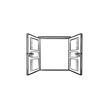 Door opening hand drawn outline doodle icon. Opened door vector sketch illustration for print. Ilustrace