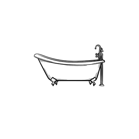Bathtub with tap hand drawn outline doodle icon. Bathroom furniture . Vectores