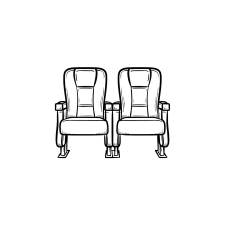 Cinema seat hand drawn outline doodle icon. Row of cinema chair vector sketch illustration for print.