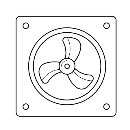 Computer air fan vector line icon isolated on white background. Air fan of computer line icon for infographic, website or app.