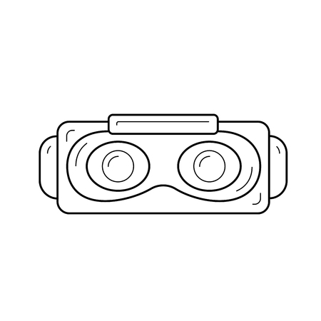 Virtual reality vector line icon isolated on white background. Virtual reality glasses line design. Ilustração