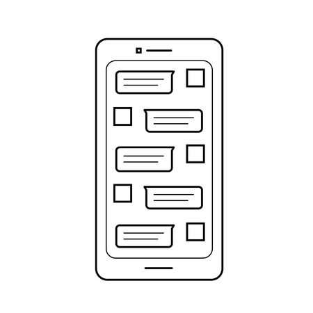 Mobile sms vector line icon isolated on white background. Smartphone sms line icon design.