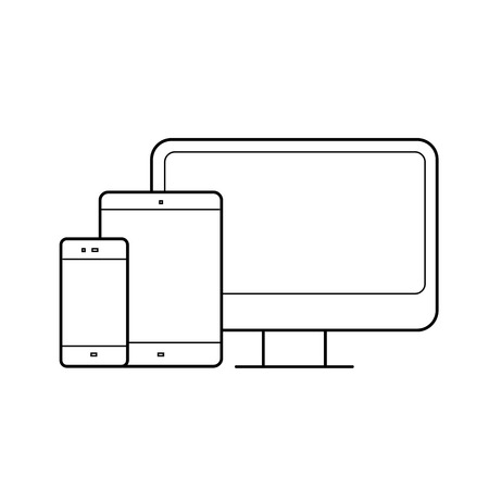 Devices vector line icon design. isolated on white background. Adaptive web design concept. 矢量图像