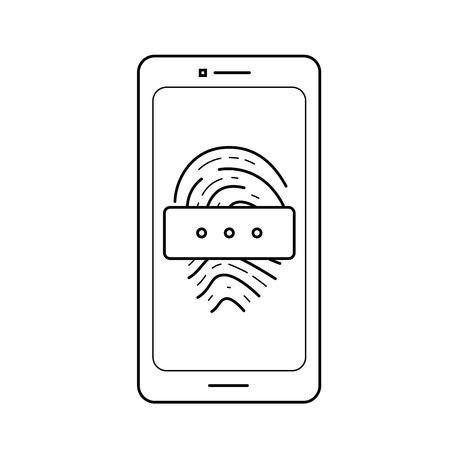 Finger print password vector line icon isolated on white background. Finger print password line icon design. Illustration