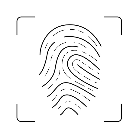 Scan of fingerprint vector line icon isolated on white background. Scan identification system line icon design.