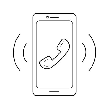 Smart phone with vibration and sound vector line icon isolated on white background. Smartphone technology line icon for infographic, website or app.