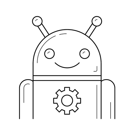 Robot vector line icon isolated on a white background.