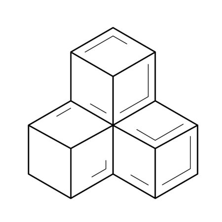 Three cubes vector line icon isolated on a white background.