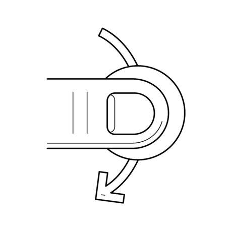 흰색 배경에 고립 된 벡터 라인 아이콘 디자인 아래로 슬쩍.