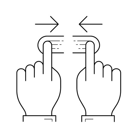 Two hand unpinch vector line icon isolated on white background. Two hand unpinch line icon for infographic, website or app.
