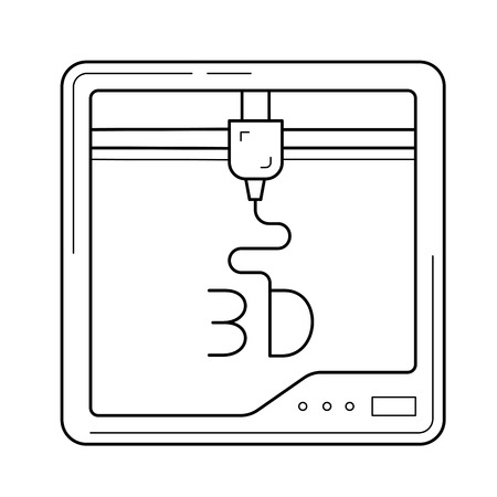 Three D printer app vector line icon isolated on white background. Three D print line icon for infographic, website or app.