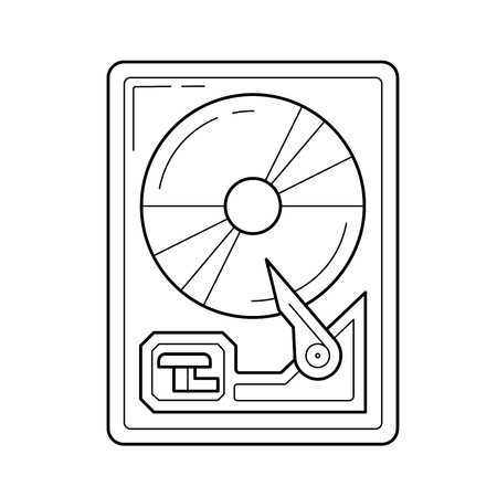 Hard drive disk vector line icon isolated on white background. Hard drive disk line icon for infographic, website or app. Icon designed on a grid system. Illustration