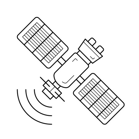 Satellite antenna vector line icon isolated on white background. Space satellite line icon for infographic, website or app.