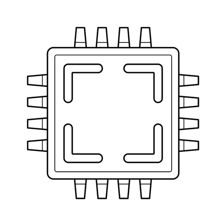 Computer cpu chip vector line icon isolated on white background. Circuit board line icon for infographic, website or app. Ilustração
