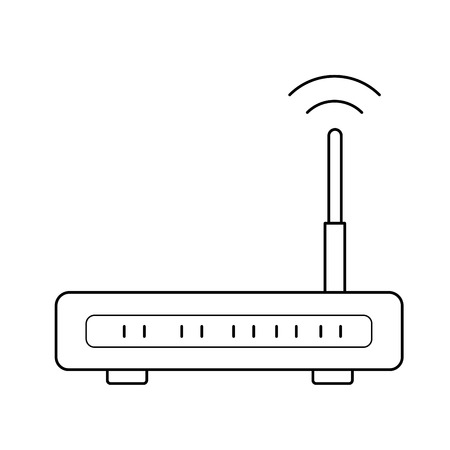 Wifi router vector line icon isolated on white background. Internet router line icon for infographic, website or app.