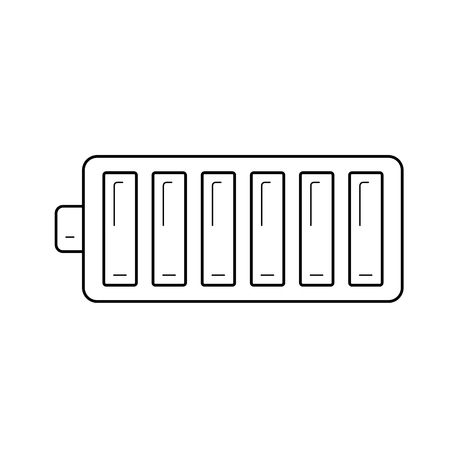 Full battery vector line icon isolated on white background. Full battery line icon for infographic, website or app. Illustration