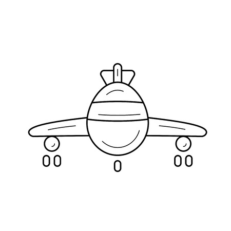 Airplane vector line icon isolated on white background. Airplane line icon for infographic, website or app. Icon designed on a grid system.