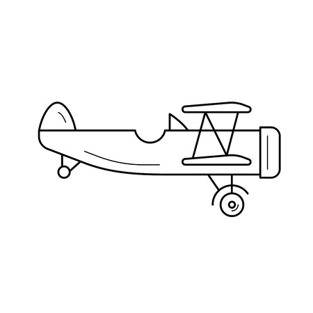 Biplane vector line icon isolated on white background. Vintage small biplane line icon for infographic, website or app. Icon designed on a grid system.