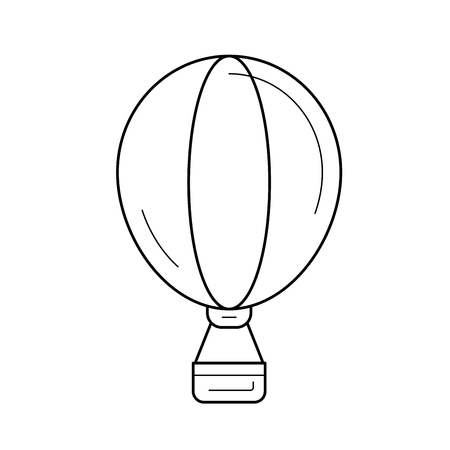 Hot air balloon vector line icon isolated on white background. Hot air balloon line icon for infographic, website or app. Icon designed on a grid system.