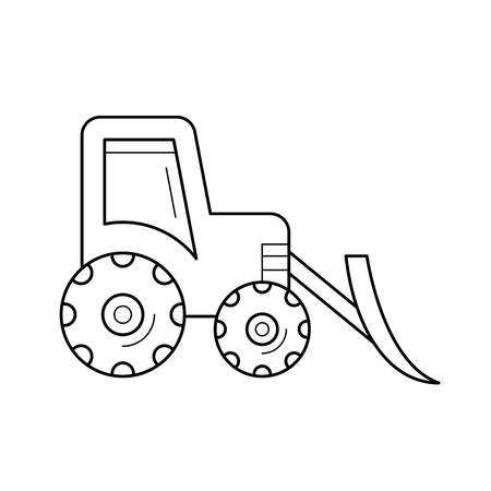 Front loader vector line icon isolated on white background. Front loader line icon for infographic, website or app. Icon designed on a grid system.