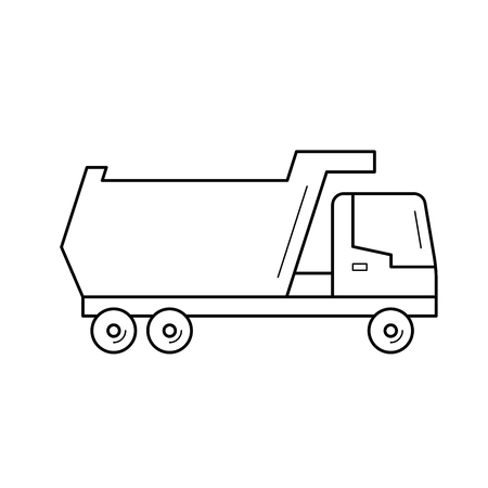 Tipper truck vector line icon isolated on white background. Tipper truck line icon for infographic, website or app. Icon designed on a grid system.