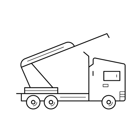 Truck crane vector line icon isolated on white background. Truck crane line icon for infographic, website or app. Icon designed on a grid system.