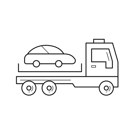 Tow truck vector line icon isolated on white background. Tow truck line icon for infographic, website or app. Icon designed on a grid system. Ilustrace