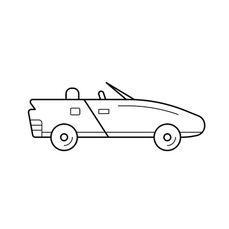 Cabriolet vector line icon isolated on white background. Cabriolet line icon for infographic, website or app. Icon designed on a grid system.