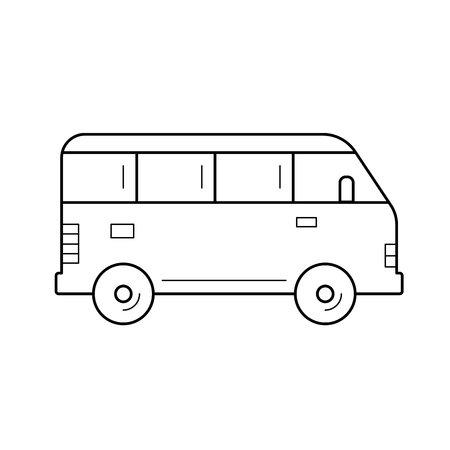 Minivan vector line icon isolated on white background. Minibus line icon for infographic, website or app. Icon designed on a grid system. Illustration