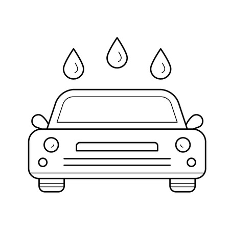 Car wash vector line icon isolated on white background. Car wash line icon for infographic, website or app. Icon designed on a grid system. Illustration