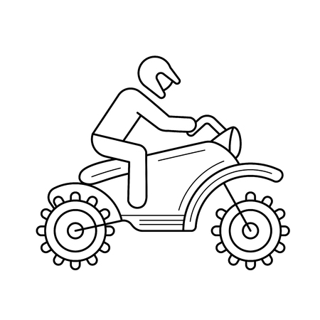 Cross motorcycle vector line icon isolated on white background. Motorcross motorcycle line icon for infographic, website or app. Icon designed on a grid system.