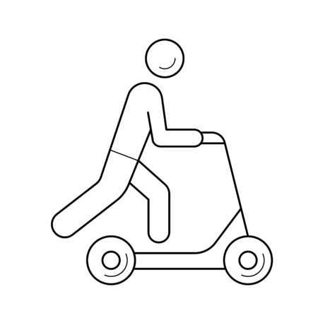 Push scooter vector line icon isolated on white background. Push scooter line icon for infographic, website or app. Icon designed on a grid system.