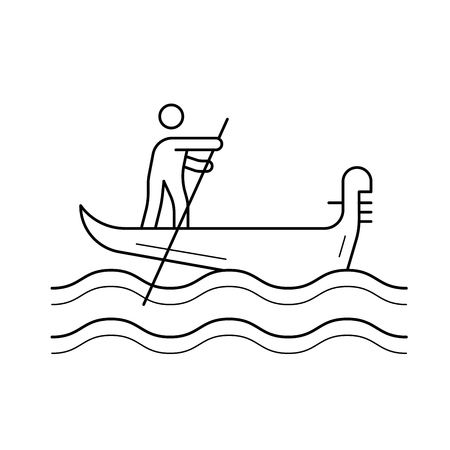 Venice gondola vector line icon isolated on white background. Venice gondola line icon for infographic, website or app. Icon designed on a grid system.