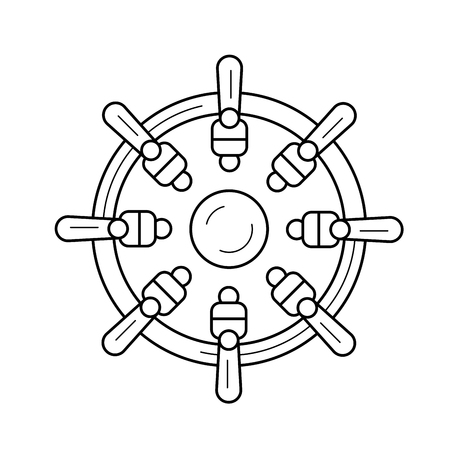 Nautical wheel vector line icon isolated on white background. Nautical wheel line icon for infographic, website or app. Icon designed on a grid system.
