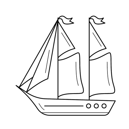 Sailboat vector line icon isolated on white background. Sailboat line icon for infographic, website or app. Icon designed on a grid system.