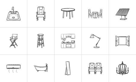 Conjunto de iconos de doodle de contorno dibujado a mano de muebles para impresión, web, móvil e infografía. Muebles vector ilustración boceto conjunto aislado sobre fondo blanco. Foto de archivo - 99316954