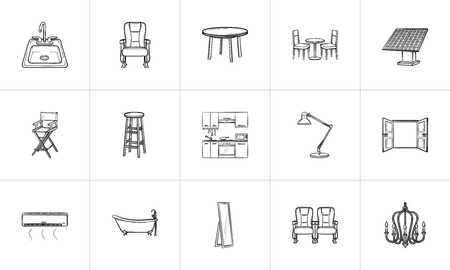 Furniture hand drawn outline doodle icon set for print, web, mobile and infographics. Furniture vector sketch illustration set isolated on white background.