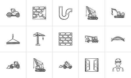 Construction sketch icon set for web, mobile and infographics. Hand drawn Construction vector icon set isolated on white background.