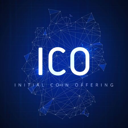 ICO initial coin offering futuristic hud background with Germany country map and blockchain peer to peer network. Cryptocurrency ICO coin sale event - blockchain business banner concept.